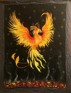 Theresa Armstrong, Rising from the Ashes, 20x16, Textile $450 1st Place